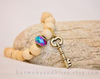 Key charm bracelet wood bead stretch bracelet with glass bead stacked boho chic jewelry bohemian fashion