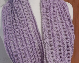 Soft Lavender Alpaca Cowl Infinity Scarf Hand Dyed Hand Crocheted OOAK