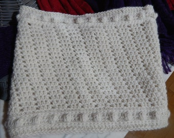 Hand Crocheted Alpaca Cowl Baby Soft Natural White OOAK Handmade