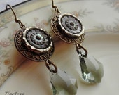 Antique Mother of Pearl Button Earrings with Baroque Cut Swarovski Crystals, Delta