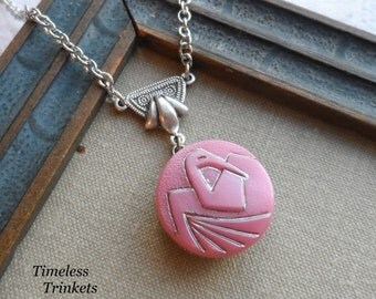 Vintage Glass Button Necklace- Crane- Pink- Bird - Designs by Timeless Trinkets