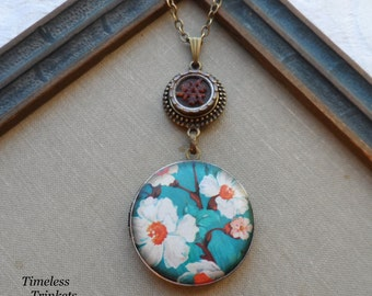 Antique Button Locket Necklace- Cherry Blossom