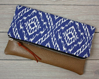 Blue Strie Ikat Foldover Clutch / Kindle Case
