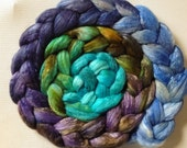 Scottish Landscape Hand Dyed roving 3.5ozs polwarth mulberry silk 70/30 made to order