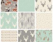 9 FABRIC BUNDLE - Hello, Bear (Gray) - Art Gallery Fabrics - Bonnie Christine - Woodland Deer Head Antlers Woods Forest