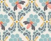 Bee Sweet Morning - Sweet as Honey - Art Gallery Fabrics - Bonnie Christine - SAH-1602 - Modern Cotton Quilting Fabric - Blue Bees