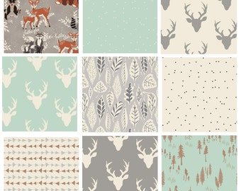 9 FABRIC BUNDLE - Hello, Bear (Gray) - Art Gallery Fabrics - Bonnie Christine - Woodland Deer Head Antlers Woods Forest