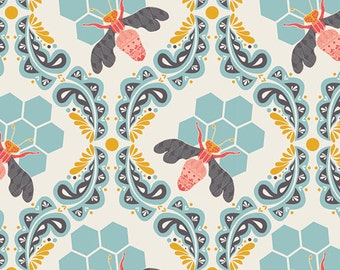 Bee Sweet Morning - Sweet as Honey - Art Gallery Fabrics - Bonnie Christine - SAH-1602 - Modern Cotton Quilting Fabric - Blue Bees