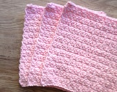 Cotton crochet dishcloth, cotton washcloth, cotton dishrag, set of 3 in light pink