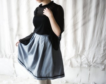 Gloomth Midnight Pleated A-Line Doll Skirt with Velvet Trim Your Size