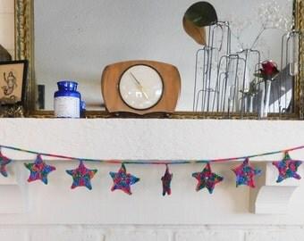 Bohemian Handmade Crochet Star Garland Christmas Bunting