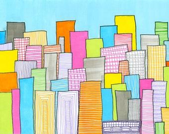 imagined skyline - archival pigment print of  original art work
