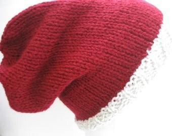 Hand Knit Slouchy Beanie Hat, Red Maroon and White, Vegan Friendly Acrylic, Wearable Fiber Winter Accessory Cap Warm Dreads Dreadlocks Tam