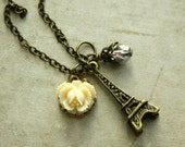 Eiffel Tower Necklace With Ivory Rose, Paris Necklace, Charm Necklace, Flower Necklace, Rose Necklace
