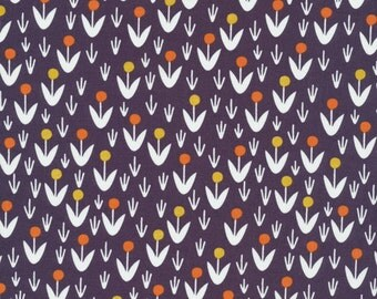 Dotty Blooms Navy purple Morning Song Collection Cloud 9 organic cotton quilt fabric
