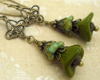 Boho Flower Earrings in Olive green and Marbled Turquoise Blue Glass