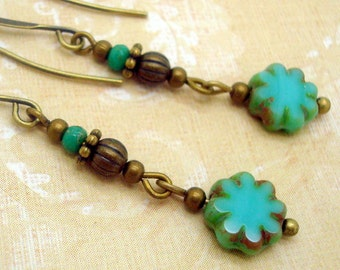 Boho Chic Earrings with Turquoise Blue Glass Flower Dangles