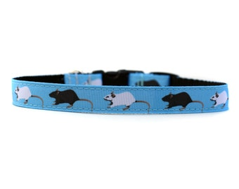 Barnhunt Rats in 5/8 or 3/4 Inch Wide Dog Collar with Adjustable Buckle or Martingale an Exclusive Design Barn Hunt