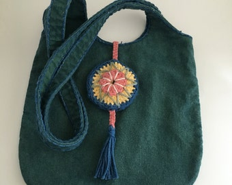 Hand Dyed Rustic Shoulder Bag with Amulet Closure in Indigo over Yellow Osage Orange