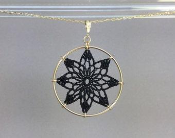 Tavita doily necklace, black silk thread, 14K gold-filled