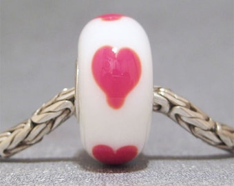Lampwork Big Hole Bead SRA Handmade Jewelry Charm Hearts On White