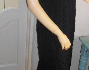 Vintage long Black Maxi Dress V Neck Irish Designer Evening Gown Frock
