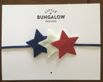 Fourth of July Star Headband // Red White & Blue // Stars // Red Glitter // Memorial Day // Felt Star Hair Clip