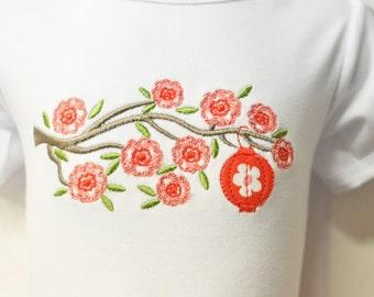CHERRY BLOSSOM Applique T-shirt or Onesie