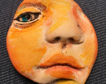 clay face partial jewelry craft supplies handmade cabochon spirit woman  mask  polymer  findings   doll parts head mask  tribal