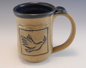 Pottery Peace Mug/ Pottery Peace Dove Mug/Hand Made Peace Dove Cup 12 Ounces