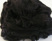 Mawata Silk Hankies COAL BLACK Hand Painted Knitpack 42 grams Knit Mittens Spin Quilt Craft Felt Fusion knitting spinning felting nuno