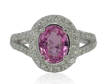 Pink Sapphire Ring, Pink Sapphire and Diamond Halo Ring with prong set split shank - Agatha Collection - LS316