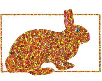 Rabbit, Rabbit Art, Bunny Print, Orange Bunny, Great Leafy Bunny of New Hampshire PRINT