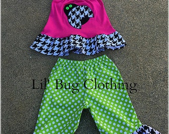 Ladybug Girl Outfit, Ladybug Birthday Party Outfit, Lady Bug Capris & Halter Top Outfit,