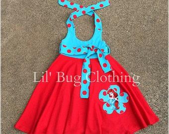 Little Mermaid Ariel Summer Dress, Little Mermaid Birthday Party Girl Dress, Ariel Birthday Party Dress, Red Knit Ariel Dress