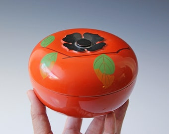 Orange persimmon lacquered Asian lidded box - jewelry box - vanity room decor