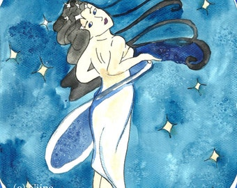 Original Painting Star Goddess Art Noveau Watercolor illustration Finnish Mythology & Folklore Goddess Art by Niina Niskanen