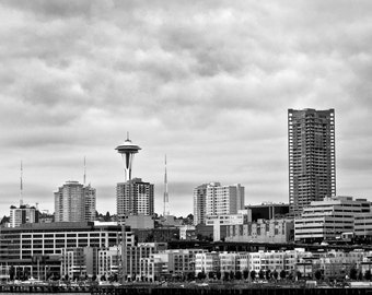 Seattle skyline seen from Puget Sound, Seattle, Seattle waterfront, Rainy Day, Black and White Photograph