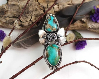 Turquoise Rose Garden Sterling Silver BOHO Ring, rustic, artisan, metalwork, handmade, Bohemian, Gypsy, size 7