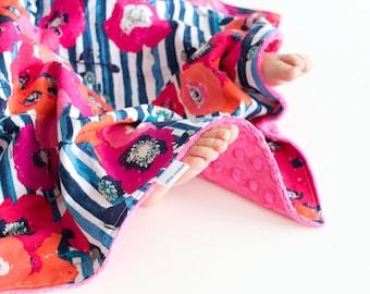 Minky Blanket Baby Girl Blanket Skopelos Paparounes Crimson