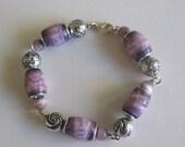 Purple Handmade Paper Beads Bracelet