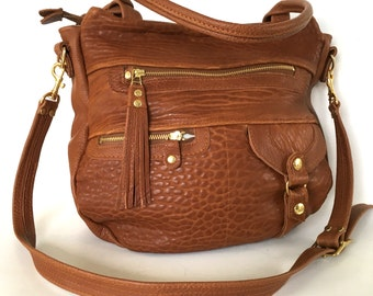 Okinawa leather bag in cognac -