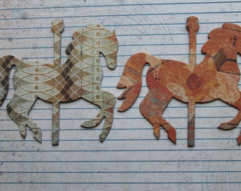 6 Carousel HORSE orange,  green,cream/brown multi distressed paper over chipboard die cuts 4 x 3 3/8 inches [6GAJ 016]