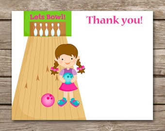 PRINTABLE Bowling Thank You Cards, Bowling Party Thank You, Bowling Birthday Thank You