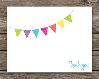 Bunting Note Cards, Bunting Cards, Banner Note Cards, Banner Notecards, Flag, Personalized Note Cards
