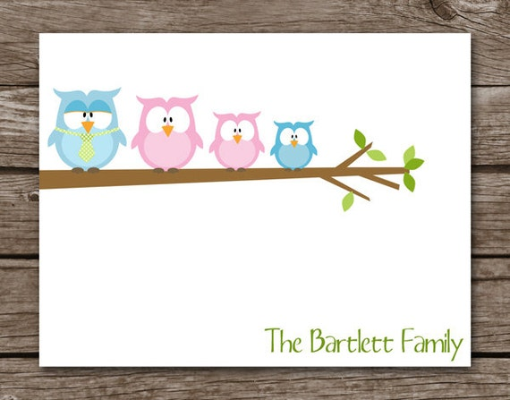 Owl Family Cards - Personalized - Set of 8
