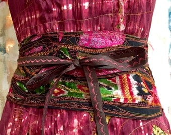 Ancestry Cloth Obi Belt #10 - One of a Kind Fiber Art, layered and inlayed stitch painting, artist clothing, unique, OOAK wide belt, sash
