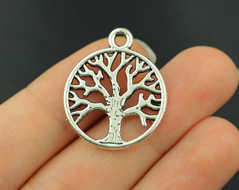 16pcs Tree of Life Charms Pendant Antique Silver Tone 2 sided - SC250