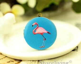 1pcs Pink Flamingos Locket Necklace, Antique Bronze Brass Locket Flamingos Charm Pendant 32mm 25mm 20mm Locket - HLK137C