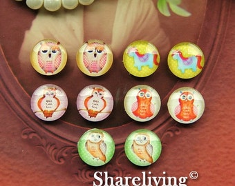 20% OFF SALE - 10pcs 12mm Mixed Handmade Photo Glass Cabochon / Wooden Cabochon  -- MCH006M